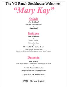 YO Ranch Steakhouse Mary Kay Seminar menu